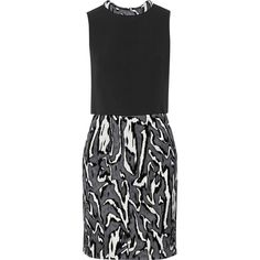 Proenza Schouler Flocked moiré-jacquard and crepe mini dress (£570) ❤ liked on Polyvore featuring dresses, black, crepe dress, short dresses, black jacquard dress, short black cocktail dresses and overlay dress