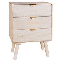ETHNIK - Petit meuble de rangement 3 tiroirs motifs ethniques