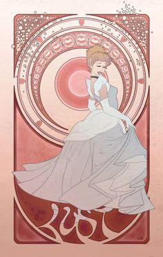 Seven Deadly Sins. Disney Princess + art nouveau = yes. An interesting idea for terot cards?