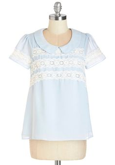 Arcadian Dreams Top - Mid-length, Chiffon, Sheer, Woven, Lace, Blue, White, Lace, Peter Pan Collar, Pastel, Short Sleeves, Collared