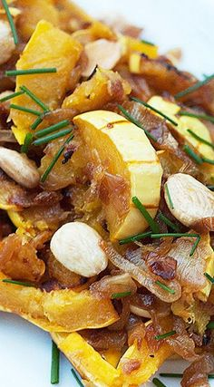 Miso Harissa Delicata Squash and Caramelized Onions