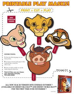 Children can role play with the Lion King with these printable cartoon masks. Four favourite characters available: there's a Nala mask, a Simba mask, a Pumpba mask and a Timon mask! Lion King Theme, Lion King Party, Lion King Birthday, Lion King Simba, Disney Lion King, Roi Lion Simba, Le Roi Lion, Animal Masks For Kids, Mask For Kids