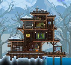 My snow biome home : Terraria Terraria House Design, Terraria House Ideas, Terraria Tips, Minecraft Houses Blueprints, House Blueprints, Backyard For Kids, Backyard Games, Minecraft Kingdom, Game Design