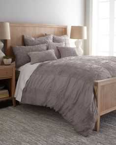 """Soup Home Furnishings - """"Wight"""" Bed Linens  $1,154.00  So much texture — and yet these pearl-gray bed linens are so lightweight and airy. From Soup Home Furnishings. Made of cotton voile. Shams are sold in pairs. Machine wash. King Duvet Cover, 2 King Ruffled Diamond Shams,  4 Ruffled Diamond European Shams, 12"""" x 21"""" Ruched Pillow Cover with Daffodil Accents, 20""""Sq. Allover-Daffodil Pillow Cover, 16""""Sq. Ruched Pillow Cover with Daffodil Accents"""