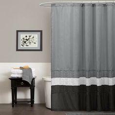Polyester Fabric Shower Curtain Set Blink White Brick Wall Sheer Panel Bathroom