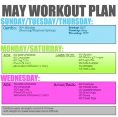 may workout plan (: legggo adding this to everything else i'm trying to do