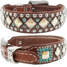 A pearl chocolate leather dog collar with embossed alligator featuring turquoise, Light Colorado Swarovski Crystals, silver studs and antique silver conchos.