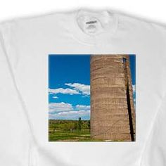 An Old Silo in a Yard in Enterprise, Utah With a Deep Blue Sky and White Clouds in Detail Sweatshirt