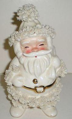 Vintage WHITE NAPCO CHRISTMAS SANTA PLANTER CANDY HOLDER FIGURINE - EC - 1950's | eBay