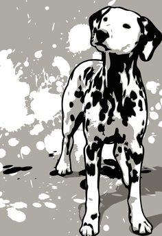 DALMATIAN dog art  Pop Art print in black by mediagraffitistudio, $30.00