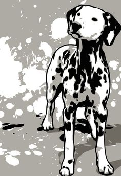 DALMATIAN dog art  Pop Art print in black by mediagraffitistudio, $30.00