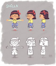 "A rough turnaround of Smilla our main character of our animation short ""Trolltag"" and some alternative versions of her."