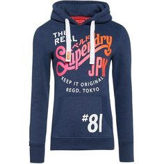 Superdry Keep It Hoodie (€62) ❤ liked on Polyvore featuring tops, hoodies, blue, women, blue hooded sweatshirt, print top, logo hoodies, print hoodies and hooded pullover