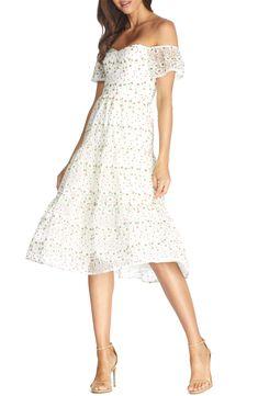 White Off the Shoulder Dress #affiliatelink #whitedress #bridetobe #bridashower