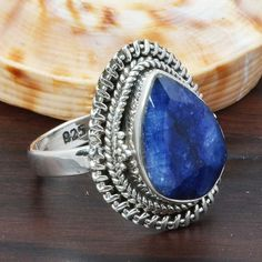 SAPPHIRE 925 SOLID STERLING SILVER FASHION RING 5.47g DJR5705 #Handmade #Ring