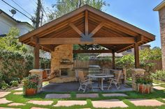 Amazing Outdoor Design Ideas with a Gazebo And Cabana Living Pool, Outdoor Living Rooms, Outdoor Spaces, Living Spaces, Outdoor Kitchens, Rustic Patio, Rustic Outdoor, Outdoor Decor, Backyard Pergola