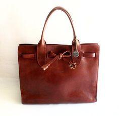 BAG OF MY DREAMS! Vintage Dooney and Bourke Reddish Brown Leather Tote door grassdoll