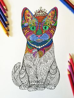 Kitten in Pearls  PDF Zentangle Coloring Page por DJPenscript