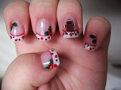Christmas Nails - Nail Art Gallery by NAILS Magazine No Link. I couldn't handle the design, but could do the polka dot French tips. Holiday Nail Art, Christmas Nail Designs, Christmas Nail Art, Merry Christmas, Love Nails, How To Do Nails, Pretty Nails, French Nails, Nail Art Designs