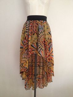 Chiffon High Low Skirt - Large Yellow and Orange Tribal
