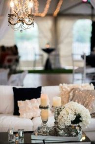 light / white couches, black and gold sequin pillows, hydrangeas, vanilla candles, glass table My Living Room, Home And Living, Living Room Decor, Cozy Living, Living Area, Home Design, Design Room, Design Ideas, Salas Lounge