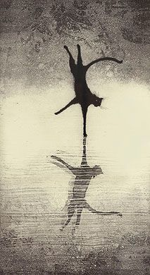 """Deja Vu"" - Fine art etching - Cat by Larry Welo. °"