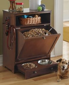 Enjoy the convenience of food, leash, and toy storage, plus a feeding station, all in one stylish, compact space
