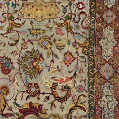 16th Century Safavid Carpet Silk & Metallic Threading