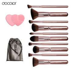 Docolor makeup brushes 10pcs Professional brand make up brushes set with bag coffee color with brush clean top Synthetic Hair //Price: $32.38 & FREE Shipping //     #hairextension #style #beauty #woman #love
