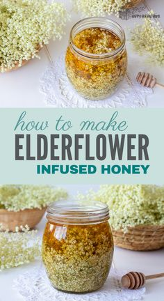 Elderflower honey is a delicious herbal infused honey that can be used to sweet anything from herbal teas to baked goods. Perfect for a unique and fun summer treat, plus you get the health benefits from all of that elderflower goodness. Herb Recipes, Honey Recipes, Canning Recipes, Healing Herbs, Medicinal Herbs, Elderberry Recipes, Tricks, Herbalism, Herbal Teas