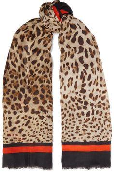 Dolce /& Gabbana Blue Leopard Cashmere Blend Scarf