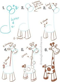 Big Guide to Drawing Cartoon Giraffes with Basic Shapes for Kids - How to Draw S. - Big Guide to Drawing Cartoon Giraffes with Basic Shapes for Kids – How to Draw Step by Step Drawin - Drawing Lessons, Drawing Videos For Kids, Art Lessons, Drawing Tips, Drawing Ideas, Basic Drawing For Kids, Teaching Drawing, Drawing Tutorials For Kids, Easy Drawings For Kids