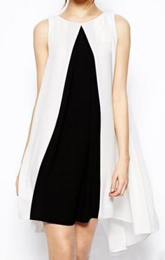 Fashion White Black Color Block Sleeveless Chiffon Dress