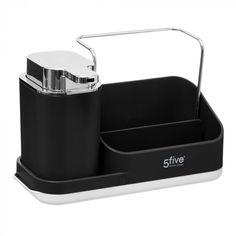 Dávkovač mydla s organizérom, čierny- 5five Simple Smart | Dekorácie do bytu Liquid Soap, Hand Washing, Soap Dispenser, Simple, Dimensions, Flow, Sink, Type, Country