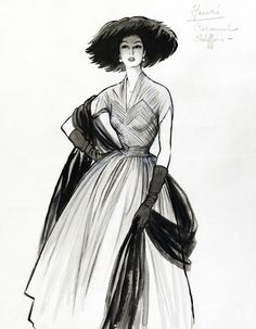 vintage fashion sketches | Fashion Sketch, by Marcel Fromenti -- High quality art prints ...