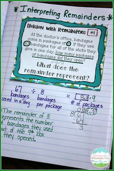 After students can compute with long division, they need to know exactly what it is they are computing! They must be explicitly taught interpreting remainders, and these task cards help them see what to do with each remainder they come across. Long Division Activities, Teaching Long Division, Math Division, Teaching Math, Teaching Strategies, Kindergarten Math, Division Strategies, Math Math, Teaching Spanish