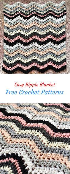 Cosy Ripple Blanket Free Crochet Pattern