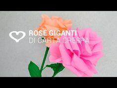 Tutorial: Come realizzare delle rose giganti di carta crespa - La Figurina - YouTube