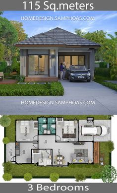 115 Sqm 3 Bedrooms Home design idea - Home Ideassearch Small House Floor Plans, Simple House Plans, Home Design Floor Plans, Simple House Design, Dream House Plans, Bungalow Haus Design, Modern Bungalow House, Bungalow House Plans, House Layout Plans