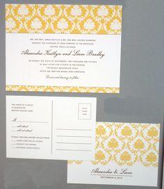 Yellow damask digital invitation with postcard response