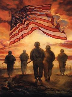 In honor of Memorial Day - Bless America's Heroes by Bonnie Mohr   There is a hidden image in the stars area.