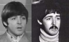 """The photo on the left is James Paul McCartney on August 19, 1966. The photo on the right is a screen shot taken from a video of """"Paul"""" taken on December 20, 1966 outside of Abbey Road studios. Only four months between these two photos.  Draw a mustache on the earlier one, and he still doesn't look anything like the later one. Sorry to anyone who thinks I am crazy, but I take this as conclusive proof of all that I have pinned on this board...."""