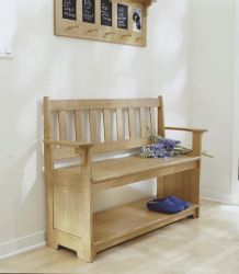 Sit-a-spell hall bench Sit-a-spell hall bench,Woodworking Plans,Furniture,Seating,WOOD Issue 145, November 2002,2002,Intermediate,Hall & Entryway,Arts and Crafts, Mission