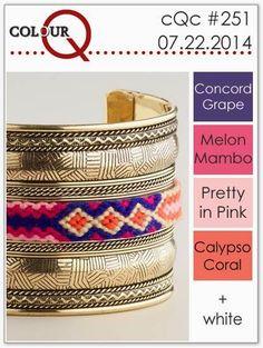 colourQ: colourQ challenge #251...Concord Grape, Melon Mambo, Pretty in Pink, Calypso Coral
