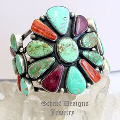 Purple & Orange Spiny Oyster Shell & Turquoise Cluster Cuff ring by Paul Livingston | online upscale native American jewelry boutique gallery| Schaef Designs Southwestern turquoise Jewelry | New Mexico