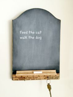 Turn an Old Cutting Board and Vintage yardstick into a Chalkboard Center www.homeroad.net