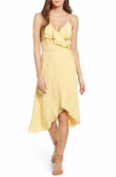 Leith Flounce Wrap Midi Dress