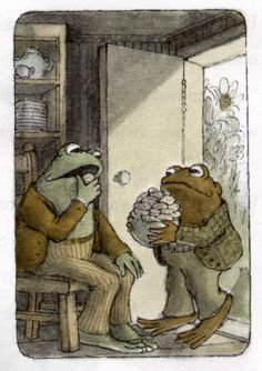 """Frog and Toad, Arnold Lobel. Toad baked some cookies. """"These cookies smell very good,"""" said Toad. He ate one."""""""