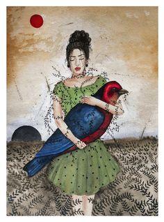 """""""para entender como bate o coração de uma mulher é preciso ter sentido algum dia na vida um pássaro preso entre as mãos...""""   #artistico #surrealista #bird #passaros #aquarela #marcelalauber"""