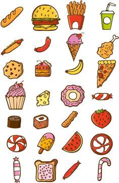 I love food by DoodleBros on DeviantArt Cute Kawaii Drawings, Kawaii Doodles, Cute Doodles, Tumblr Stickers, Cute Stickers, Doodle Icon, Doodle Art, Bedroom Designs Images, Little Doodles
